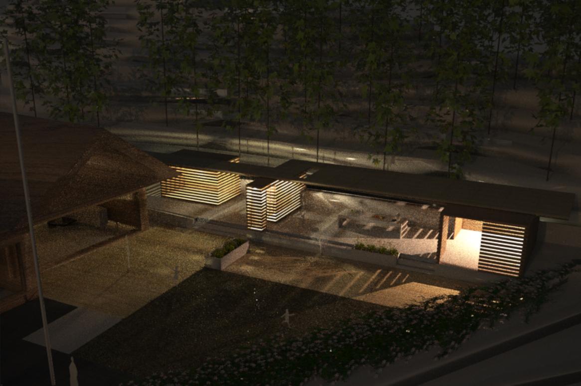 Hage Pavillion på Sandnes . 3D illustrasjonen som ble laget tidlig i prosjektet var et godt redskap for å forstå hvordan lampene ville belyse området