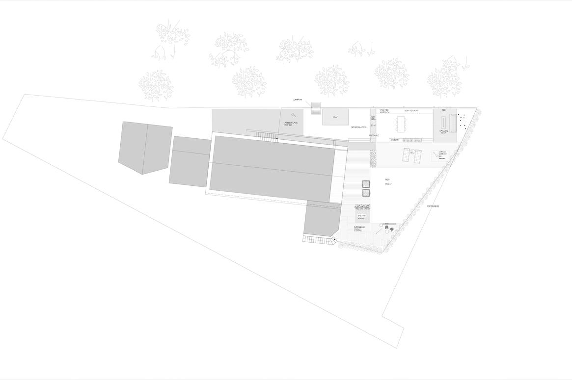Hage Pavillion på Sandnes . Planen viser de forskjellige funksjoner i prosjektet. Hage planlegging i Sandnes. Arkitekt i Sandnes.