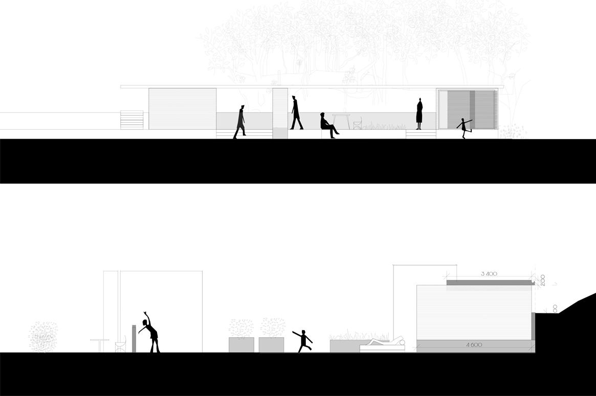 Hage Pavillion på Sandnes . Fasader og snitt spiller på lag med omgivelsene og landskapet.