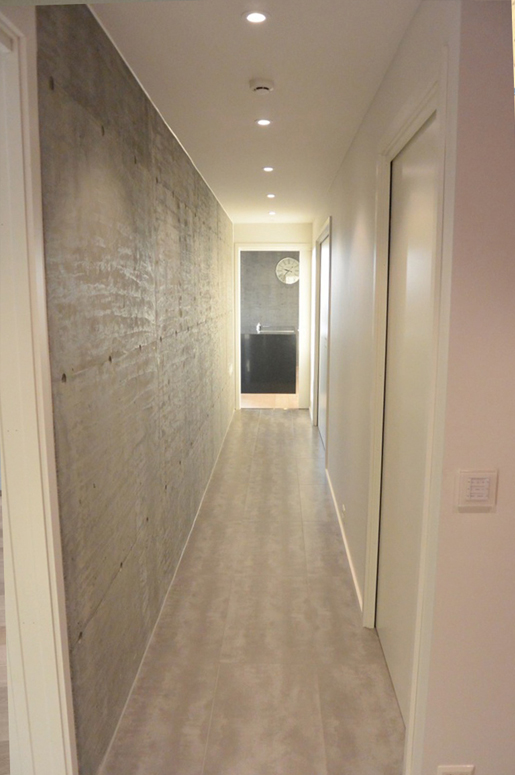 Ved bruk av store skyvedører i teknisk område, kan hvert rom utvides ved å bruke plass i korridoren. Patio Hus i Sirevåg