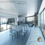 Atriumet bringer lys til alle rom. Patio Hus i Sirevåg