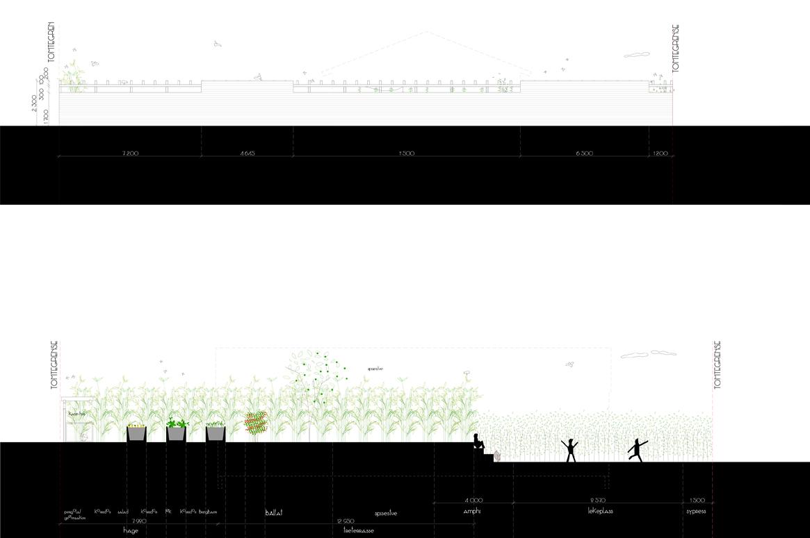 4 Seasons Garden . Illustrasjonssnitt og fasader av hageplatå.
