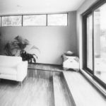 Japansk arkitektur inspirasjon, tatami, trapp, store vinduer, futong.