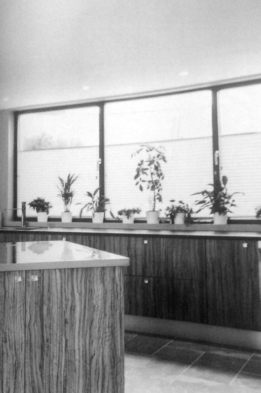 Kjøkken uten overskap. Store vinduer over kjøkkenbenk.