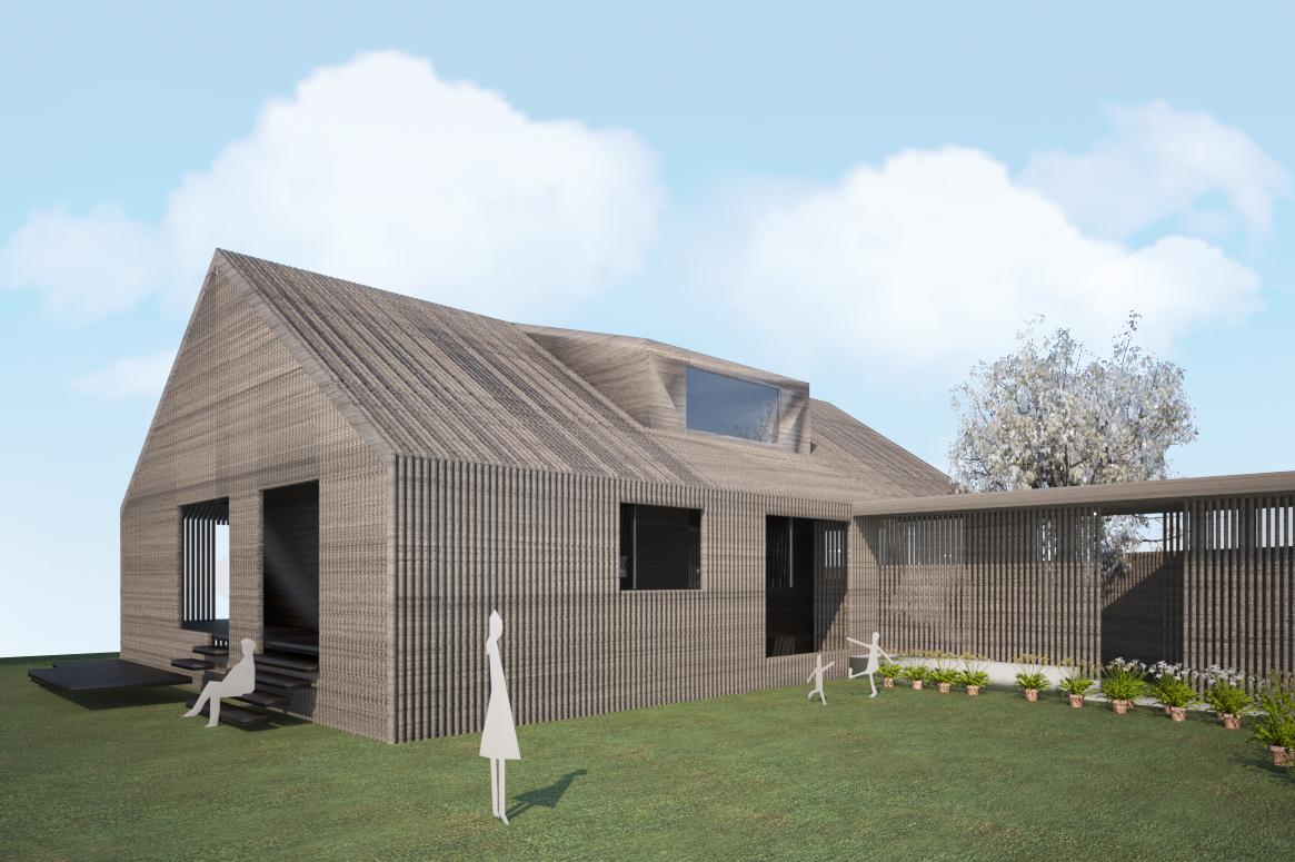 Tilbygg og fasadeendring i Sirevåg. volumetri