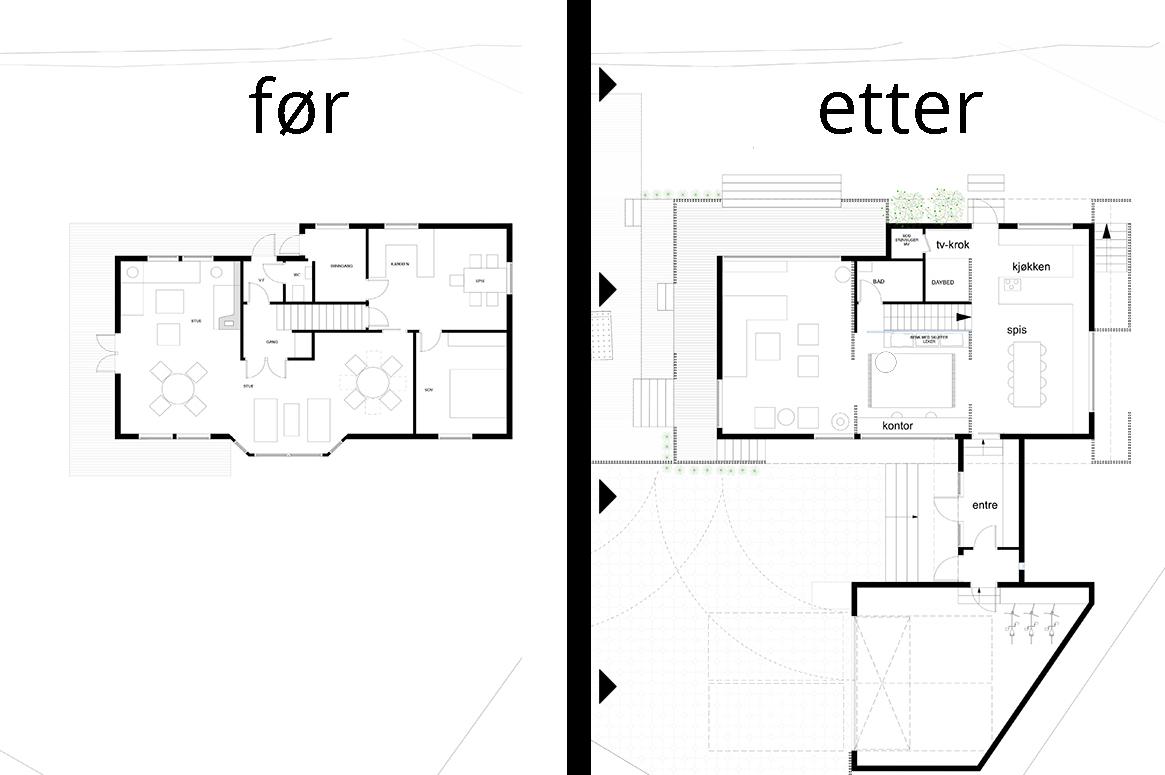 før-etter. Tilbygg og fasadeendring i Sirevåg