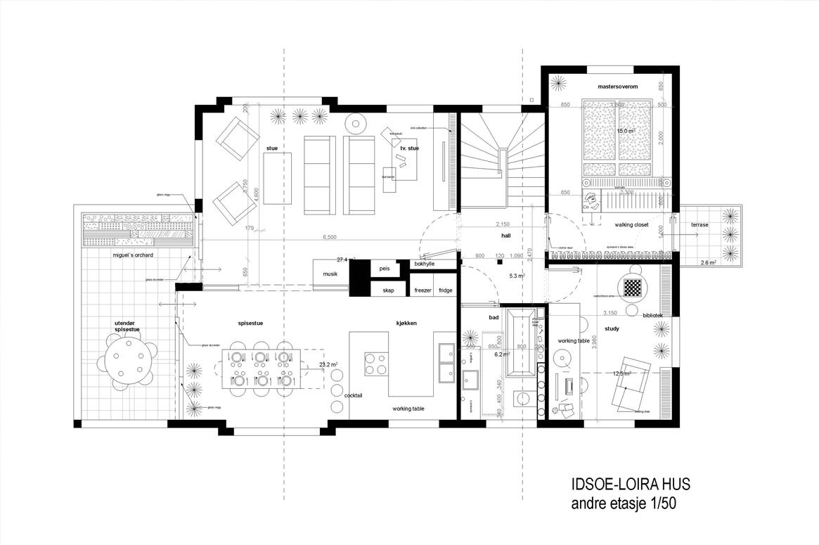 Renovering Enebolig på Tasta .2. etasje fremstår som hovedetasjen i huset.
