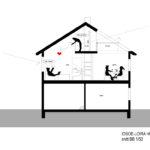 Renovering Enebolig på Tasta .Snittet viser forbindelsen mellom andre etasje og loft.