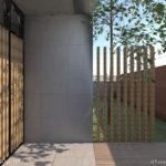 mediterranean hus i spania, betong tre, glass, entre, krysfinner
