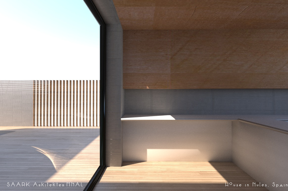 mediterranean hus i spania, betong tre, glass, kjøkken, krysfinner