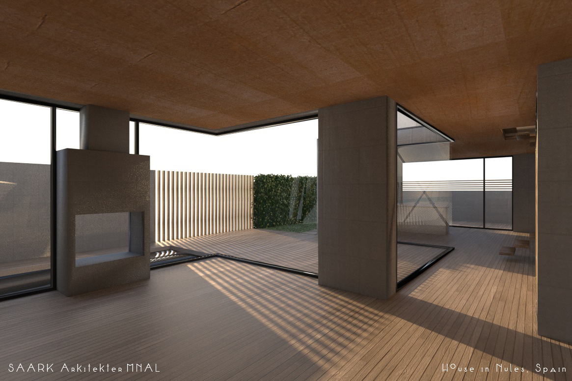 mediterranean hus i spania, betong tre, glass, stue, svømmebasseng, krysfinner