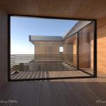 mediterranean hus i spania, betong tre, glass, soverom, krysfinner